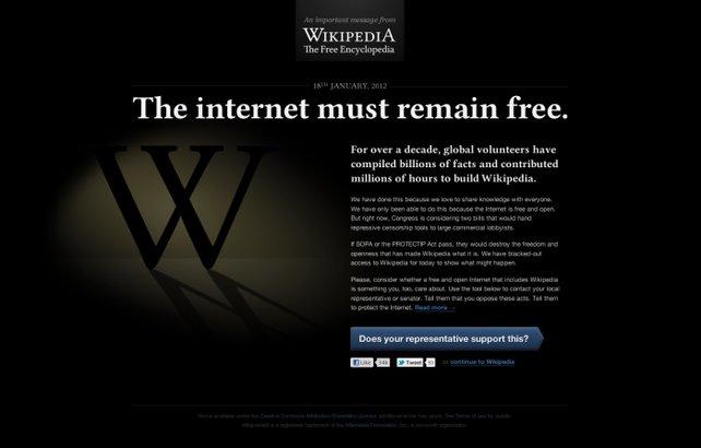 Jede Internetseite könnte angeblich von SOPA betroffen sein.