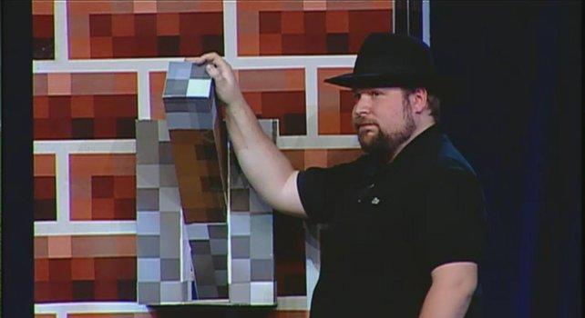 Mit diesem Hebel veröffentlicht Notch  in Las Vegas Minecraft.