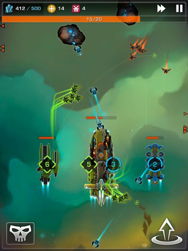 Mit euren Jägern fangt ihr Angreiferwellen ab und beschützt eure Minenschiffe.