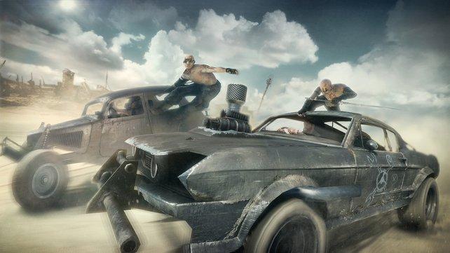 Kämpfe gegen feindliche Autos stehen auf der Tagesordnung. Zielt ihr während der Fahrt, verlangsamt sich das Spiel bis hin zur Zeitlupe - und ihr könnt exakt zielen.