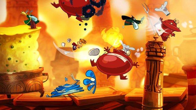 Heiß geht es her: Rayman muss sich immer wieder mit seinen Fäusten wehren - die Comic-Sounds sind klasse dabei.
