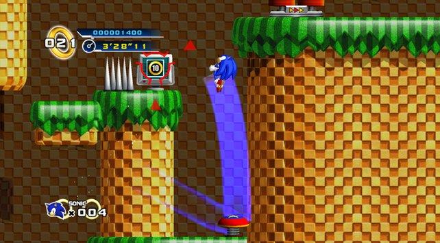 Selbst die Schwerkraft sieht neben Sonic blass aus.