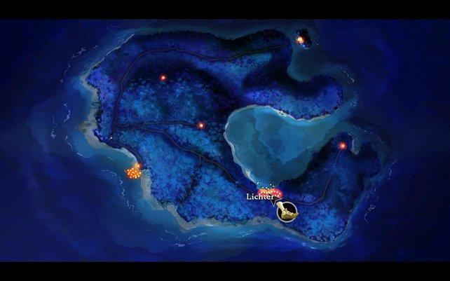 Melee Island bei Nacht und in der Kartenübersicht.