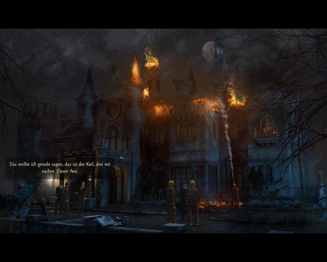 Der Anfang vom Ende: ein brennendes Schloss.