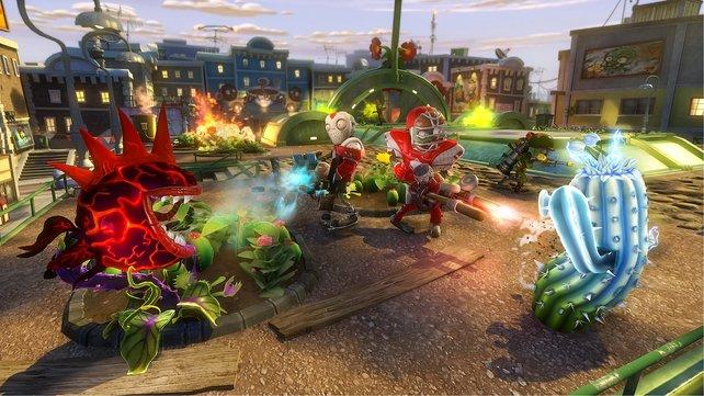 Bei Pflanzen gegen Zombies - Garden Warfare ist der Name Programm. Pflanzen verteidigen ihre Gärten gegen aggressive Zombies.