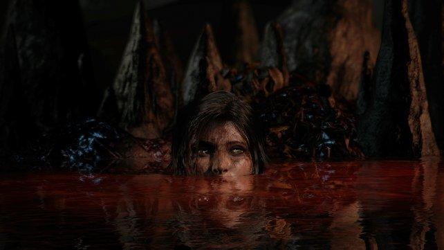 Lara Croft wäscht ihre Unschuld mit Blut ab.
