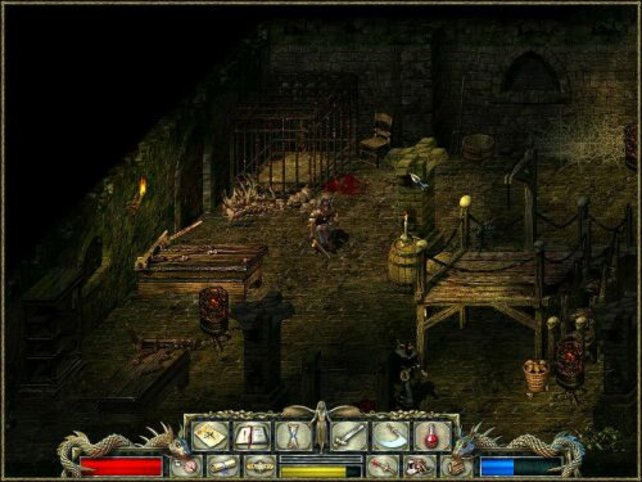 Blut, Knochen und Monster in einem Dungeon