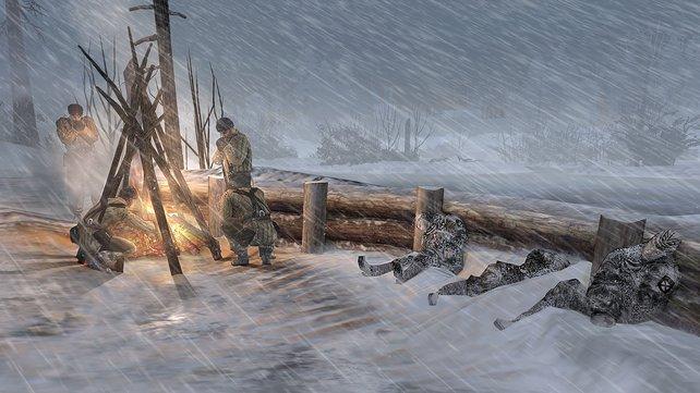 Im russischen Winter lauert der Tod durch Erfrieren, wenn ihr es nicht zum Lagerfeuer schafft.