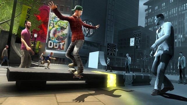 Färbt die graue Spielwelt durch Tricks in eine lebendige Stadt.