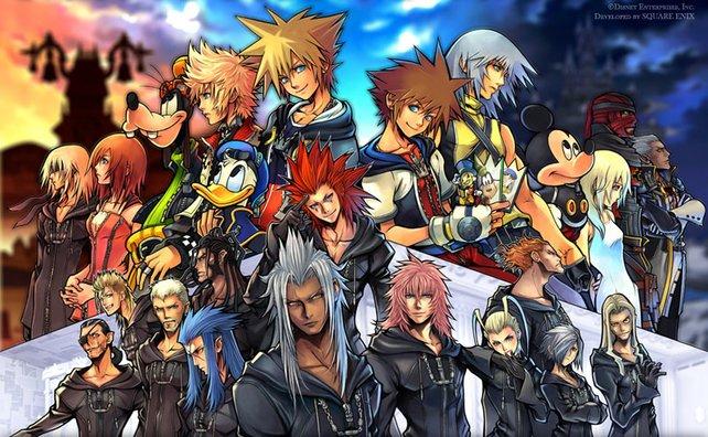 Alle auf einen Schlag: Ein Gruppenbild mit den wichtigsten Figuren aus Kingdom Hearts.
