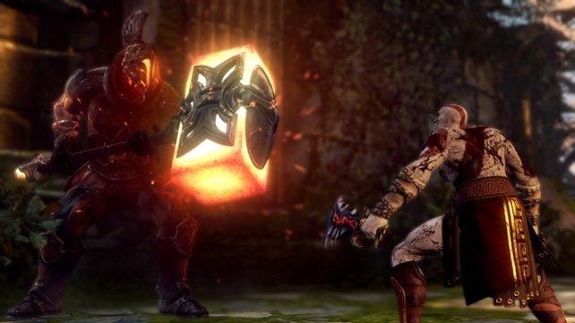 Kratos zeigt dem Feind, wo der Hammer hängt.