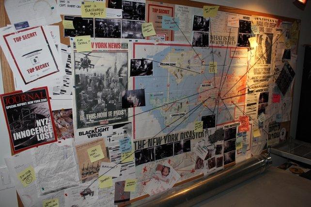 Ein Foto aus dem Entwicklerstudio, das die drei Zonen von Prototype 2 zeigt.