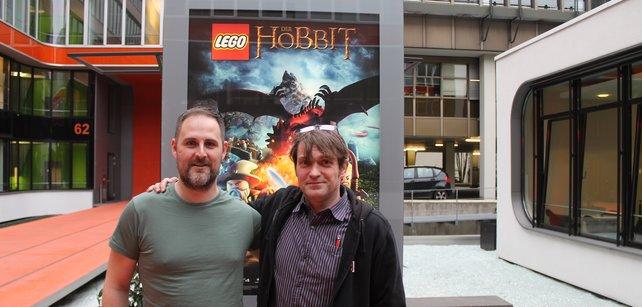 James Norton von TT Games und spieletipps Redakteuer Ulrich Wimmeroth.