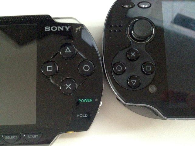 Links seht Ihr die Aktionsknöpfe der PSP, rechts davon die Vita-Tasten. Die sind kleiner, mit angenehmem Druckpunkt.