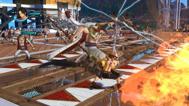 Ace und Whitebeard kämpfen im Online-Modus zusammen.