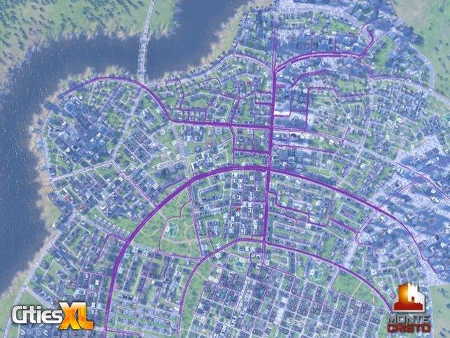 Die lila Linien zeigen die Verkehrsdichte an.