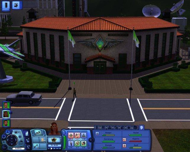 Wenigstes dürfen wir die Arbeitsstelle unsrer Sims von außen kennenlernen.