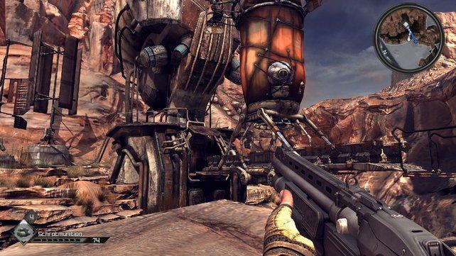Der Stil von Gebäuden und Landschaften erinnert an eine Mischung aus Fallout 3 und Borderlands.