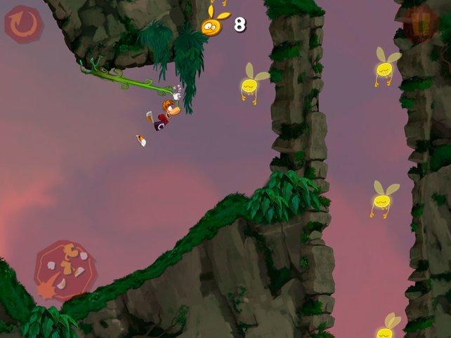 Rayman rennt automatisch, ihr kümmert euch ums Springen und Schwingen.