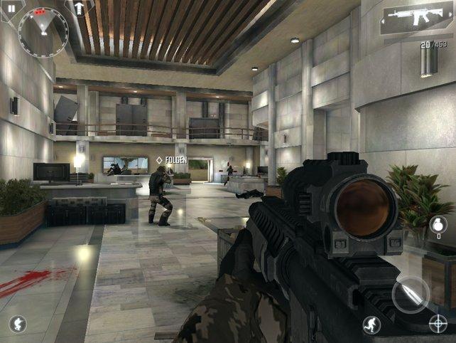 Dicke Wummen, großartige Grafikulissen, dumme Gegner: Modern Combat 4 liefert feinste Ego-Action.