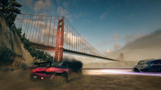 14 Schauplätze warten auf euch, teils mit Sehenswürdigkeiten wie hier die Golden Gate Bridge.