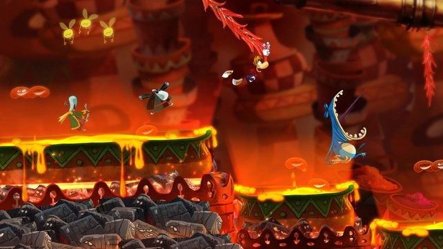 Rayman überzeugt in quietschbunter Optik auch in 2D.