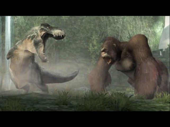 Die Showdowns zwischen King Kong und dem T-Rex sind gigantisch.