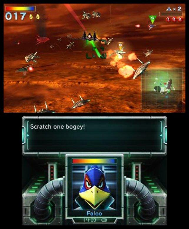 In Star Fox 64 3D wimmelt es nur so von Gegnern. Eine Abschussprämie ist da schnell verdient.
