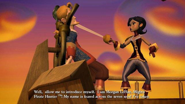 Eine Piratenjägerin hat es auf den Helden abgesehen.