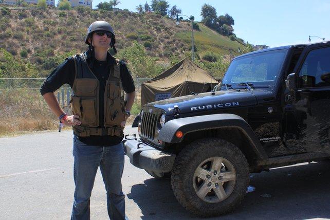 Redakteur Thomas kurz vor seinem Einsatz bei der Jeep Experience.