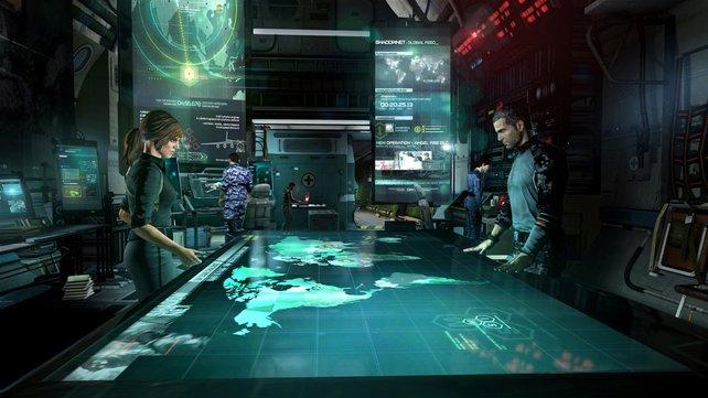 """Per futuristisch inszeniertem """"SMI"""" (Strategic Mission Interface) planen Sam und Grim den nächsten Einsatz der Fourth-Echelon-Einheit."""