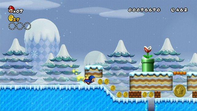 Pinguin-Mario schliddert auf seiner kleinen Wampe.
