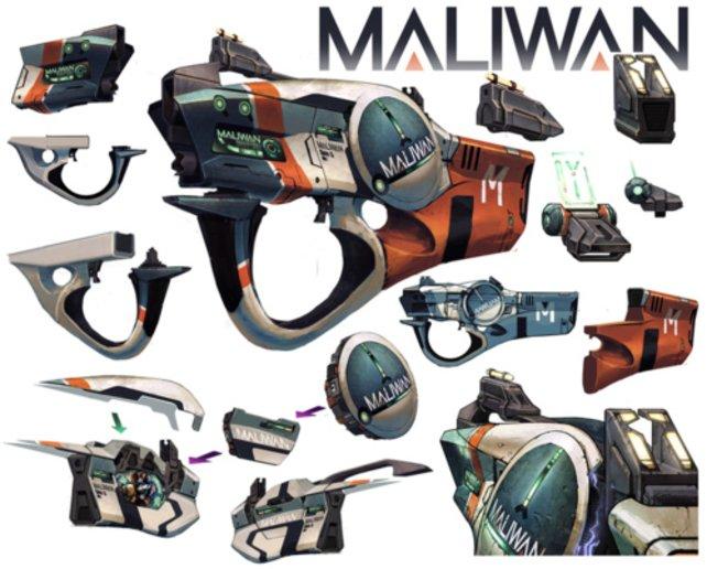 Ein Waffenmodell des Herstellers Maliwan.
