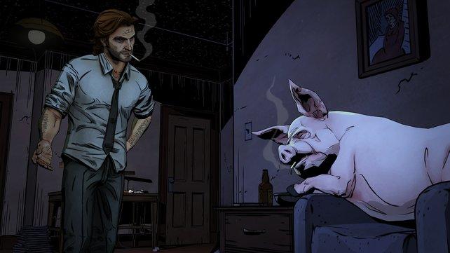 Schwein Colin nistet sich gerne mal bei Bigby ein.