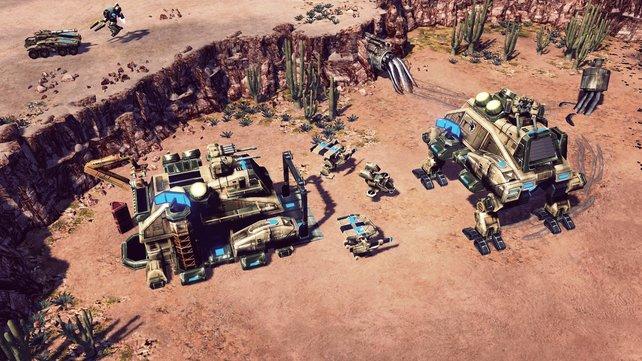 Der Crawler rechts im Bild ermöglicht mobile Stützpunkte.