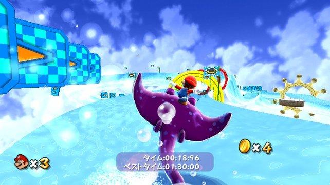 Abwechslung pur, hier muss Mario unter Zeitdruck auf einem Rochen reiten