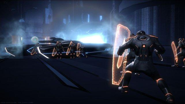 Spieler wehren sich mit Lichtschilden.