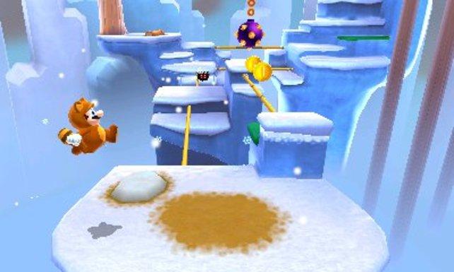 Manchmal rennt Mario auch in die Tiefe des Bildschirms - dank 3D-Effekt könnt ihr die Entfernungen prima abschätzen.