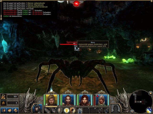Eine fiese Spinnenkönigin erwartet euch am Ende des ersten Dungeons.