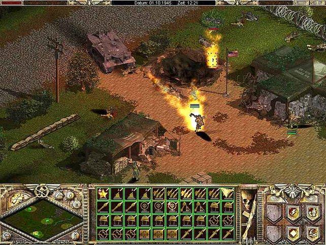 Ein Panzer mit Flammenwerfer
