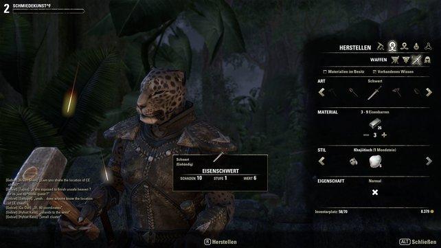 In The Elder Scrolls Online übt ihr bis zu sechs Berufe parallel aus. Der Schmied stellt etwa Klingen und Rüstungen her.