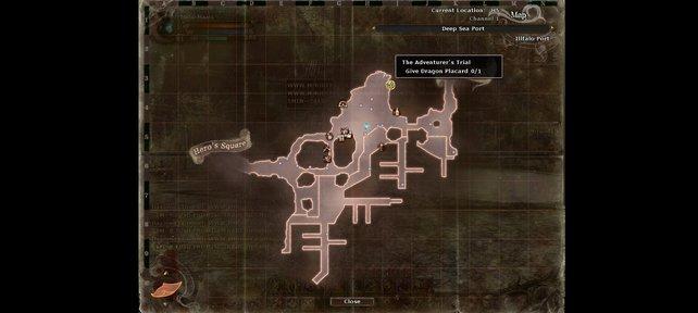 Die Karte zeigt euch eure Ziele stets an.