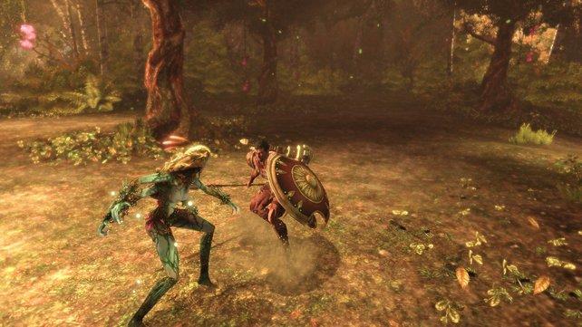 Jason kämpft im Wald gegen einen größeren Zwischengegner