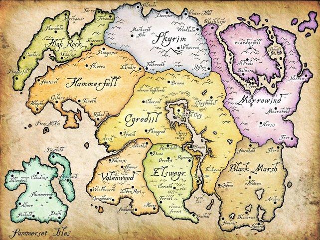 Tamriel ist in neun Provinzen unterteilt. Skyrim ist eine von ihnen.