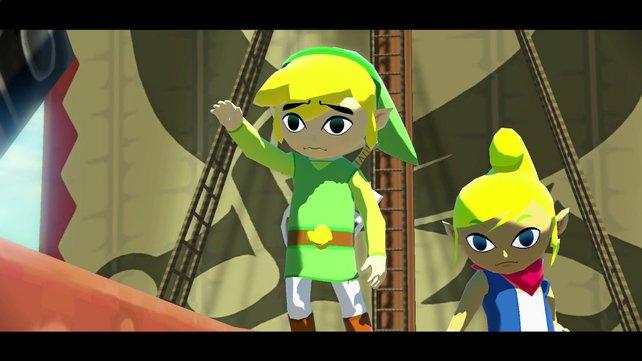 Bei seinem Aufbruch ins Abenteuer winkt Link noch einmal seiner Großmutter zu.