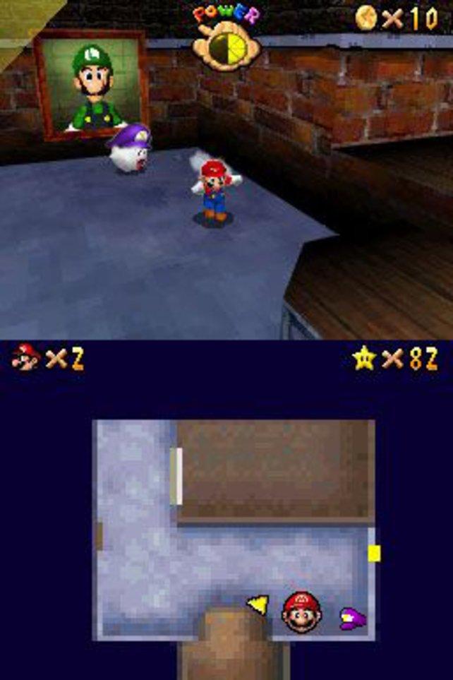 Luigi beäugt Mario aus dem Bilderrahmen. Und Mario flitzt durch die dreidimensionale Spielwelt.