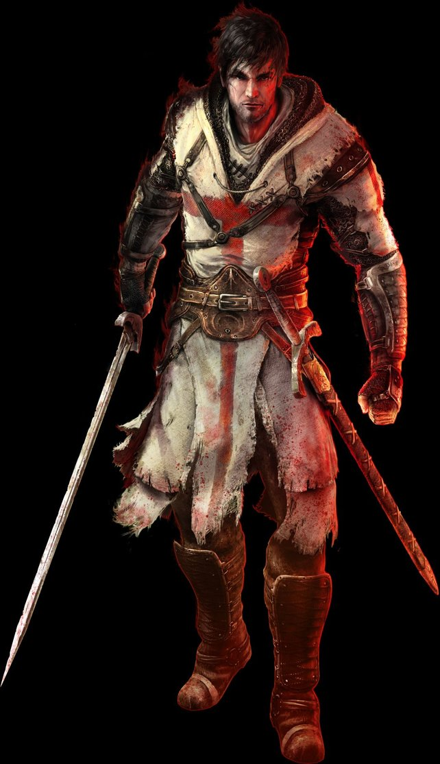 Denz de Bayle, der Hauptcharakter des Spiels, ist vom Fluch der Tempelritter befallen.