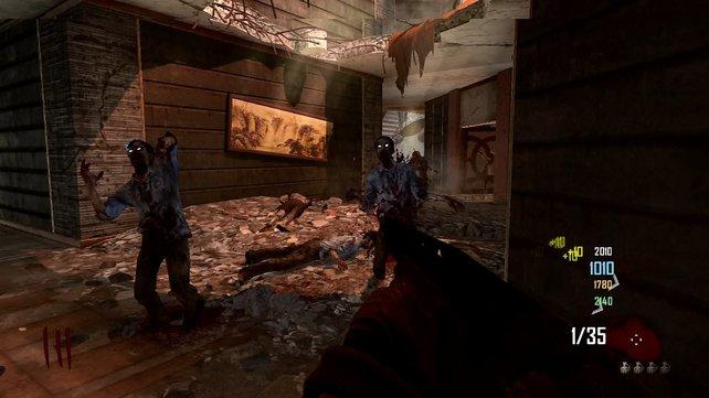 In der Häuserruine überraschen euch immer wieder Zombies.