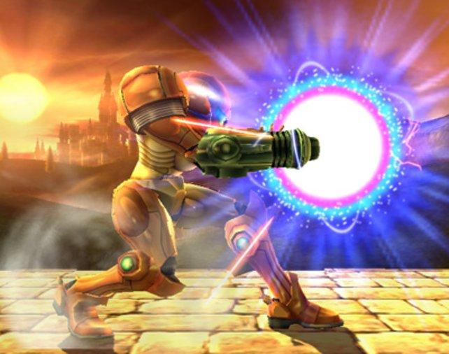 Samus (aus der Metroid-Serie) mit aufgeladener Waffe.