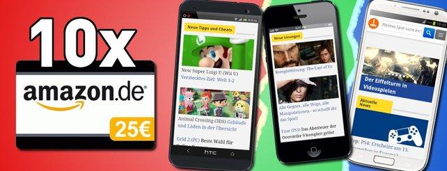 Gewinnt ein Handy eurer Wahl. Als Sonderpreis winken einem Gewinner 10 Amazon-Gutscheine im Wert von je 25 Euro.